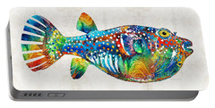 Puffer Fish Art - Blow Puff - By Sharon Cummings Portable Battery Charger