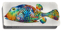 Puffer Fish Art - Puff Love - By Sharon Cummings Portable Battery Charger