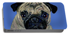 Pug On Blue Portable Battery Charger