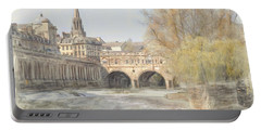 Portable Battery Charger featuring the digital art Pulteney Bridge Bath by Ron Harpham