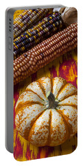 Pumpkin And Indian Corn Portable Battery Charger