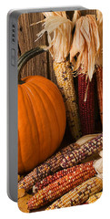 Pumpkin And Indian Corn Still Life Portable Battery Charger