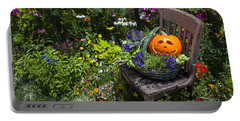 Pumpkin In Basket On Chair Portable Battery Charger