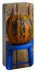 Pumpkin On Blue Stool Portable Battery Charger