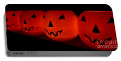 Pumpkins Lined Up Portable Battery Charger by Kerri Mortenson