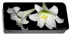 Portable Battery Charger featuring the photograph Pure White Easter Lilies by Rose Santuci-Sofranko