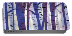 Plum And Blue Birch Trees - Plum And Blue Art Portable Battery Charger