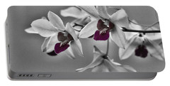Purple And Pale Green Orchids - Black And White Portable Battery Charger