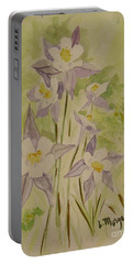 Purple And White Columbines Portable Battery Charger