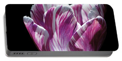 Purple And White Marbled Tulip Portable Battery Charger by Rona Black