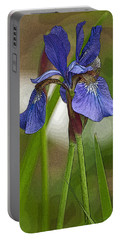 Purple Bearded Iris Watercolor With Pen Portable Battery Charger