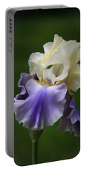 Portable Battery Charger featuring the photograph Purple Cream Bearded Iris by Patti Deters