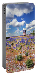 Purple Flower Countryside Portable Battery Charger