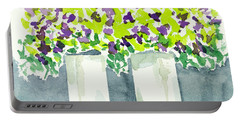 Portable Battery Charger featuring the painting Purple Flowers Abstract by Frank Bright