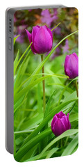 Purple Gems- Purple Tulips Rhode Island Tulips Purple Flower Portable Battery Charger by Lourry Legarde