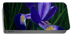 Purple Iris Portable Battery Charger by Barbara Griffin