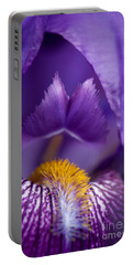 Purple Iris Macro Textured 1 Portable Battery Charger