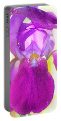 Purple Iris Watercolor Portable Battery Charger