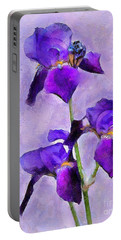 Purple Irises - Painted Portable Battery Charger