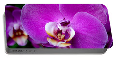 Purple Orchid Portable Battery Charger by Rona Black