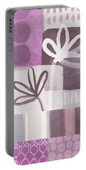 Purple Patchwork- Contemporary Art Portable Battery Charger