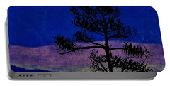 Portable Battery Charger featuring the drawing Purple Sunset Bay by D Hackett