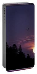 Portable Battery Charger featuring the photograph Purple Sunset With Sea Gull by Peter v Quenter