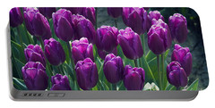 Purple Tulips Portable Battery Charger by Yulia Kazansky