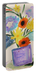 Portable Battery Charger featuring the painting Purple Vase Filled by Mary Carol Williams