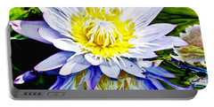 Purple Petals Water Lily In Reflective Pond Portable Battery Charger