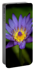 Purple Water Lily Portable Battery Charger by Pamela Walton