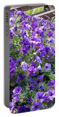 Purple Wave Petunias In Rusty Horse Drawn Spreader Portable Battery Charger