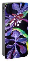 Portable Battery Charger featuring the painting Purple Wildflowers by Lil Taylor