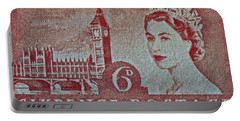 Queen Elizabeth II Big Ben Stamp Portable Battery Charger by Bill Owen