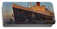 Queen Mary At Sunset Portable Battery Charger