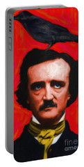 Quoth The Raven Nevermore - Edgar Allan Poe - Painterly - Red - Standard Size Portable Battery Charger