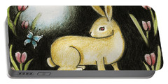 Rabbit And The Butterfly . . . From The Tapestry Series Portable Battery Charger