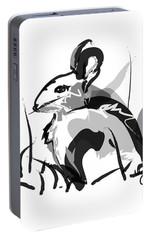 Portable Battery Charger featuring the painting Rabbit Bunny Black White Grey by Go Van Kampen