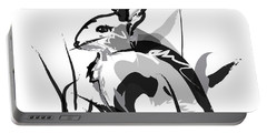 Rabbit Bunny Black White Grey Portable Battery Charger