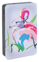 Portable Battery Charger featuring the painting Rabbit - Bunny In Color by Go Van Kampen