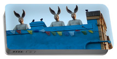 Rabbit People On A Roof In New Orleans Louisiana #1 Portable Battery Charger by Michael Hoard