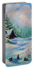 Portable Battery Charger featuring the painting Rabbits Waiting For Spring by Bob and Nadine Johnston