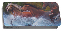 Portable Battery Charger featuring the painting Race For Freedom by Karen Kennedy Chatham