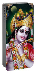 Radha Krishna Idol Hinduism Religion Religious Spiritual Yoga Meditation Deco Navinjoshi  Rights Man Portable Battery Charger by Navin Joshi