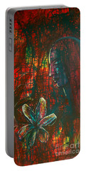 Portable Battery Charger featuring the painting Radiating Light by Mini Arora