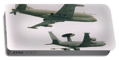 Portable Battery Charger featuring the photograph Raf Nimrod And Awac Aircraft by Paul Fearn