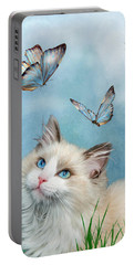 Portable Battery Charger featuring the mixed media Ragdoll Kitty And Butterflies by Carol Cavalaris
