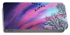 Raging Sky And Canada Geese Portable Battery Charger