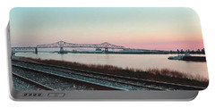 Portable Battery Charger featuring the photograph Rail Along Mississippi River by Charlotte Schafer
