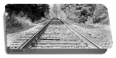 Railroad Tracks Portable Battery Charger by Athena Mckinzie